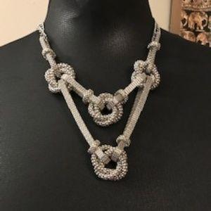 Silver Mesh Knots Necklace